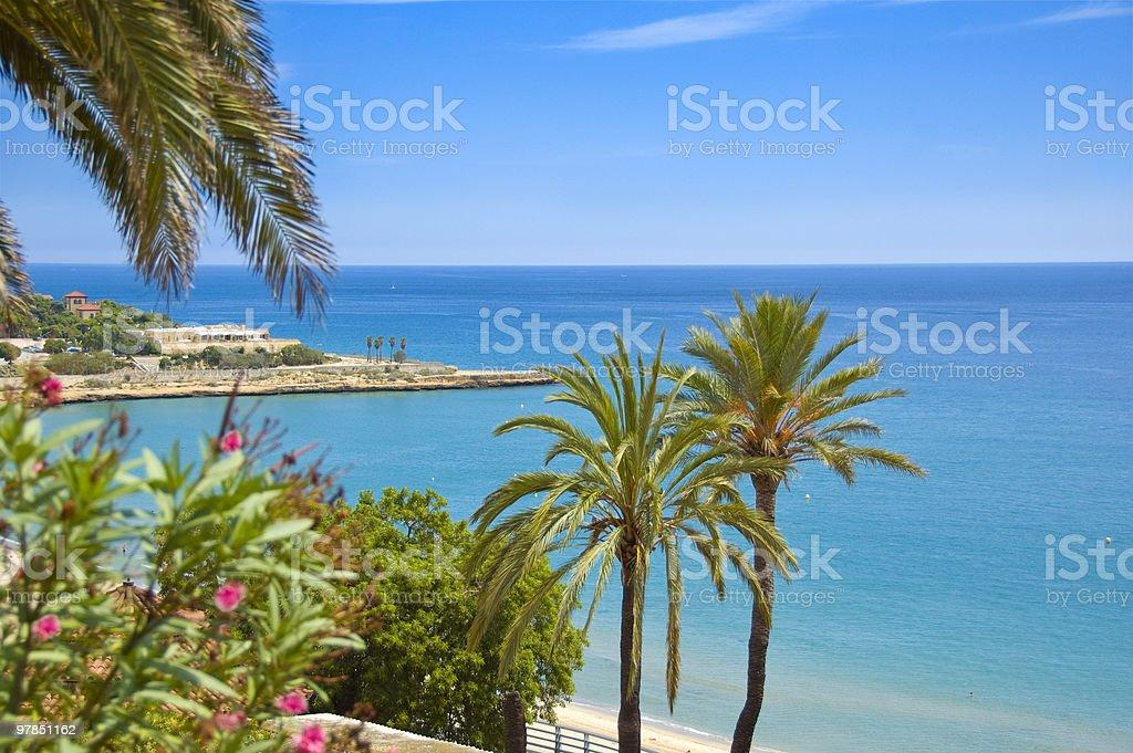Mediterranean beach scene | Tarragona, Costa Dorada Spain stock photo