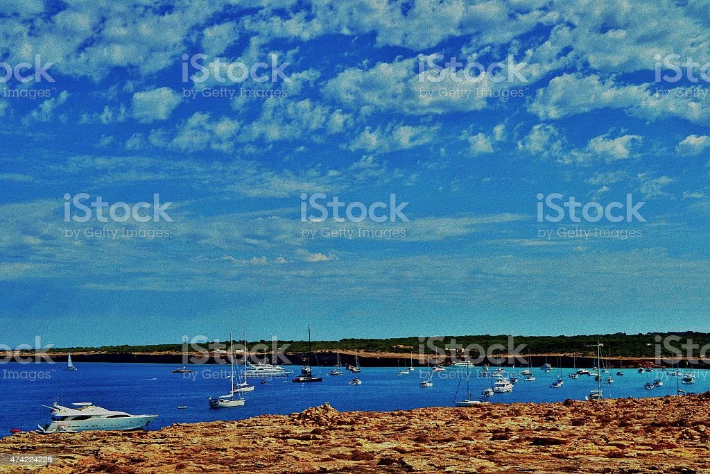 Mediterranean beaches. Formentera's sea stock photo