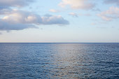 Mediterranean blue, calm sea with horizon in the morning