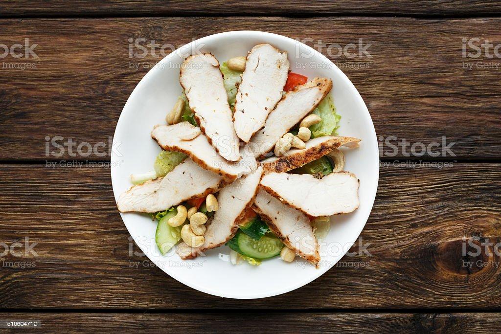 Mediterranean cashew chicken salad stock photo