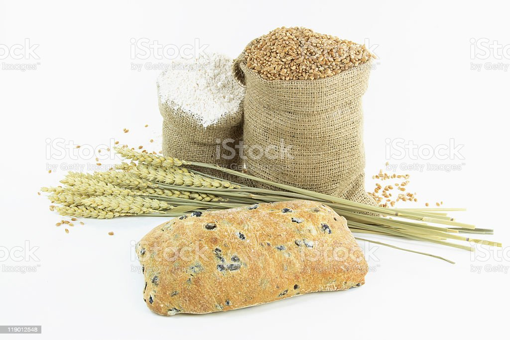 Mediterranean Ciabatta Black olive bread and products. royalty-free stock photo