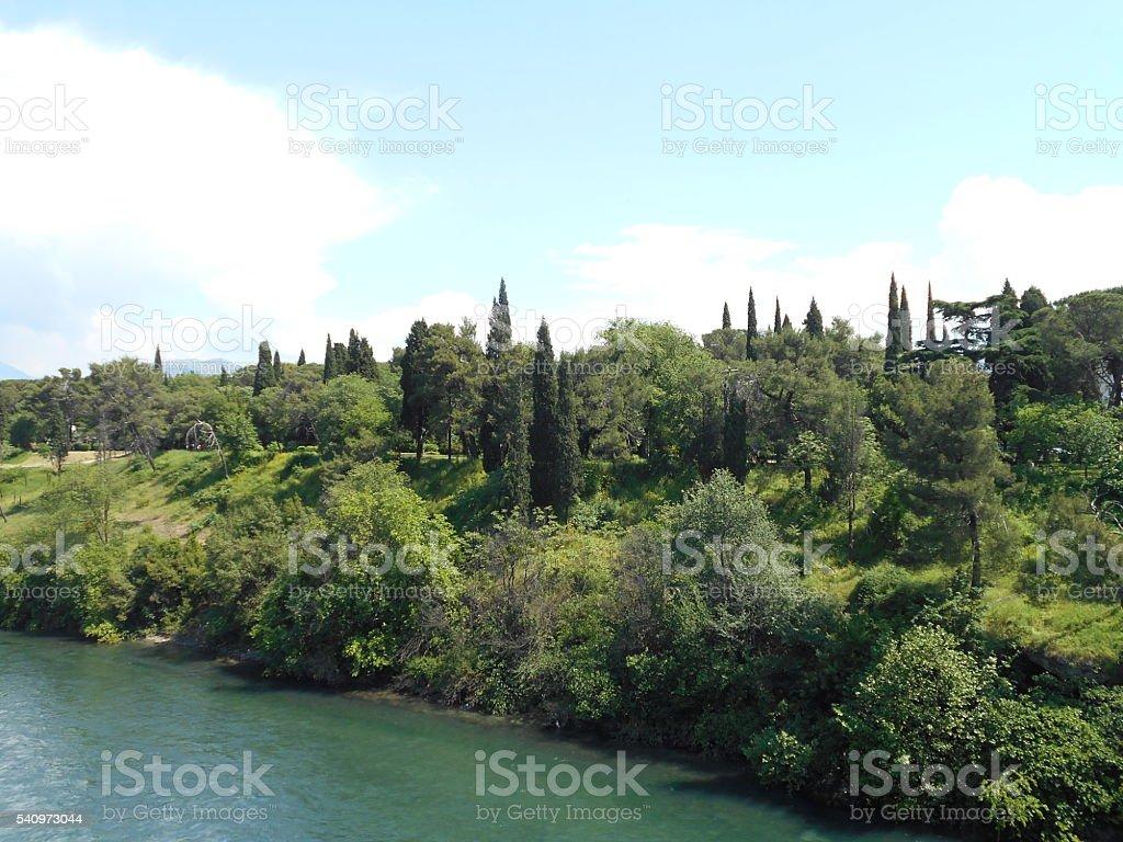 Mediterranean city park stock photo