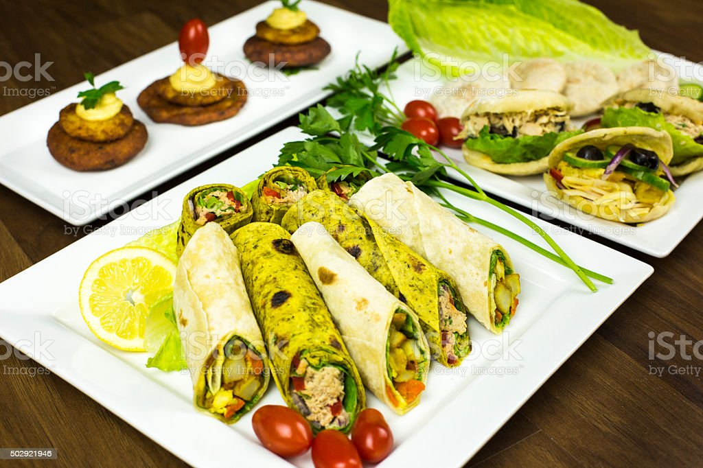 mediterranean combination appetizer stock photo