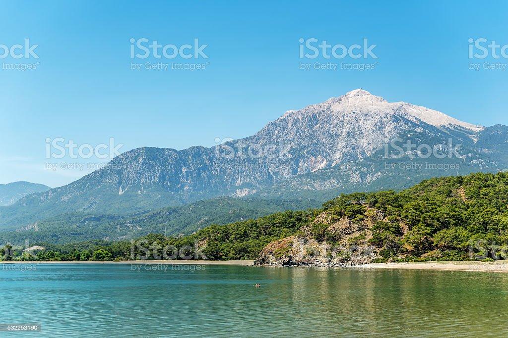 Mediterranean cost of Turkey next to Phraselis stock photo