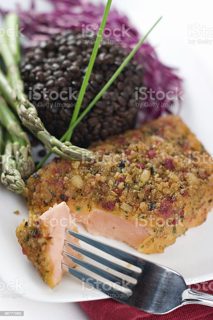 Mediterranean Crusted Salmon royalty-free stock photo