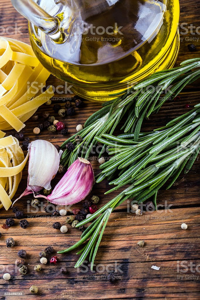 Mediterranean cuisine and some ingredients stock photo
