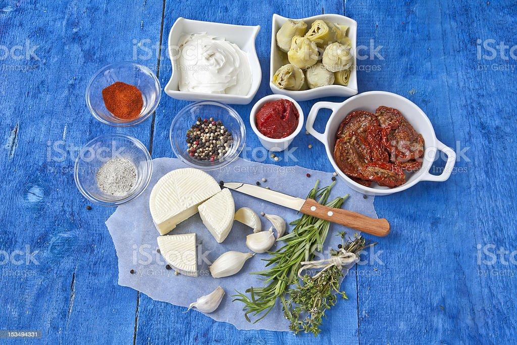 Mediterranean cuisine ingredients royalty-free stock photo
