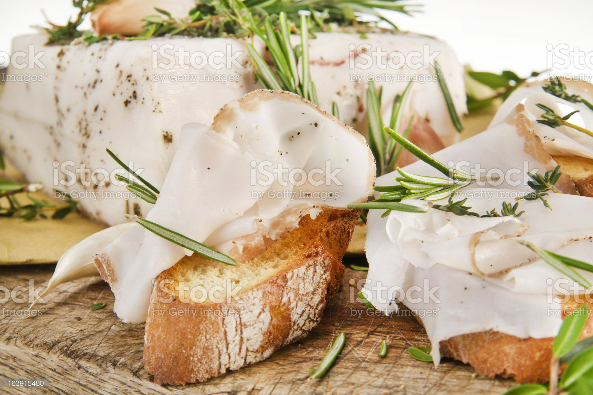 Mediterranean diet, bacon with herbs. royalty-free stock photo