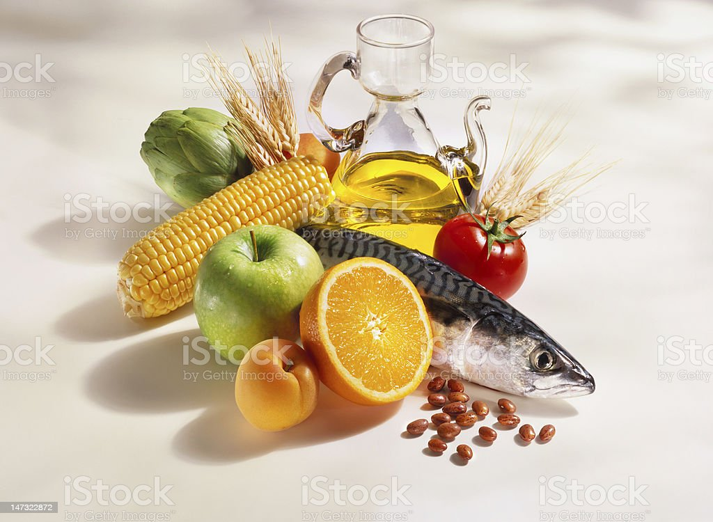 Mediterranean diet cooking ingredients stock photo