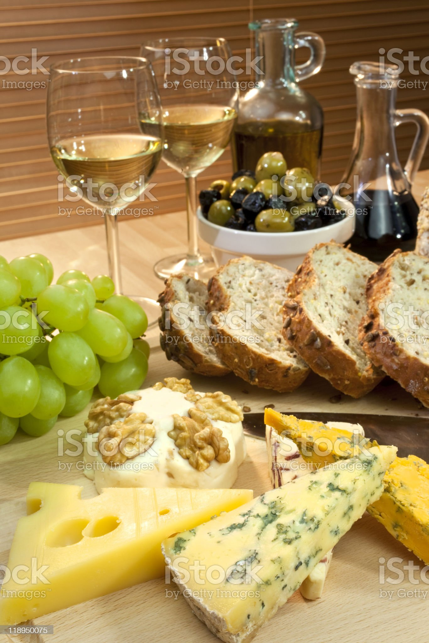 Mediterranean Diet of Cheese, Wine, Grapes, Olives, Bread Balsma royalty-free stock photo