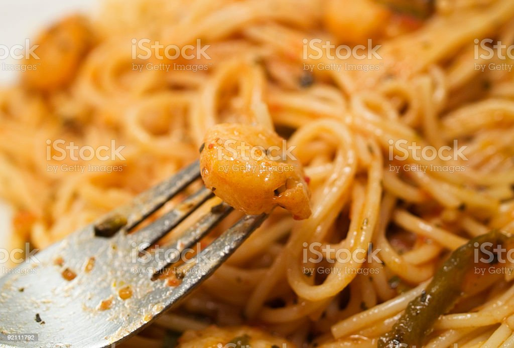 Mediterranean food collection: Angel hair pasta with shrimps stock photo