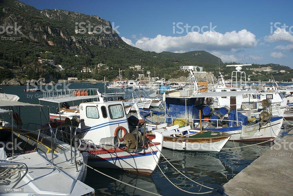 Mediterranean Harbor Greek Fishing Boats Paleokastritsa Corfu royalty-free stock photo