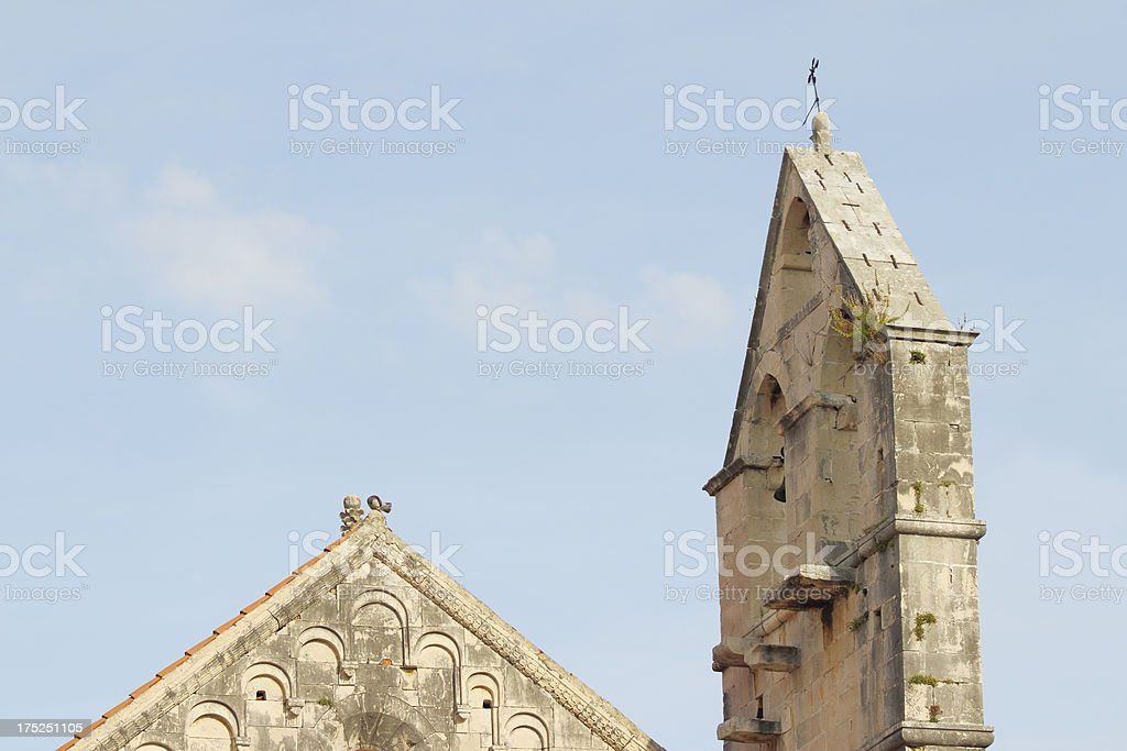 mediterranean historic church bell tower  view in Trogir Croatia royalty-free stock photo
