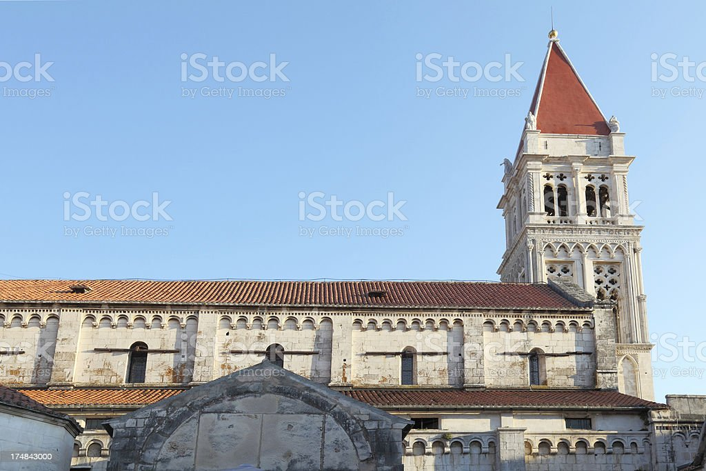mediterranean historic church bell towers roofs Trogir Croatia royalty-free stock photo