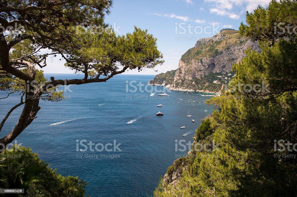 mediterranean iview of Capri Island, Italy stock photo