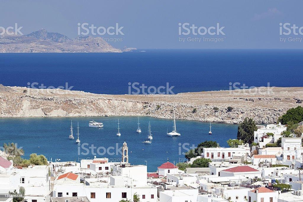 Mediterranean landscape, Lindos - Rhodes island - Greece stock photo