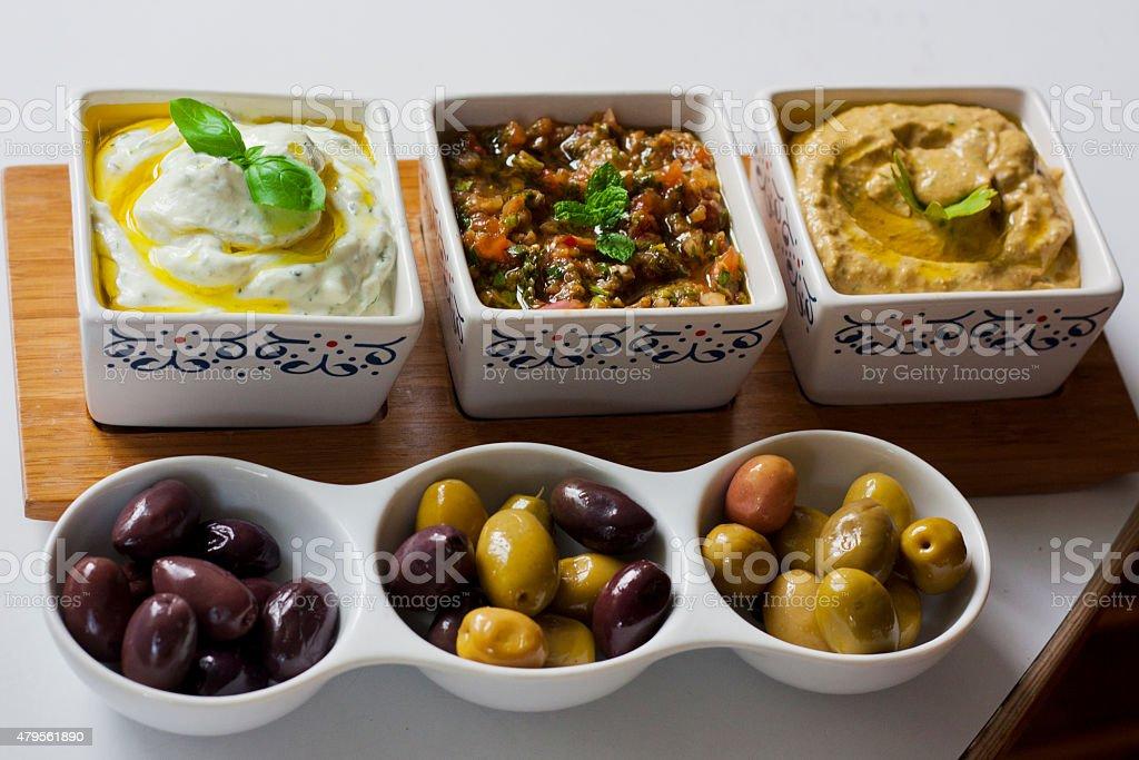 Mediterranean mezzah stock photo