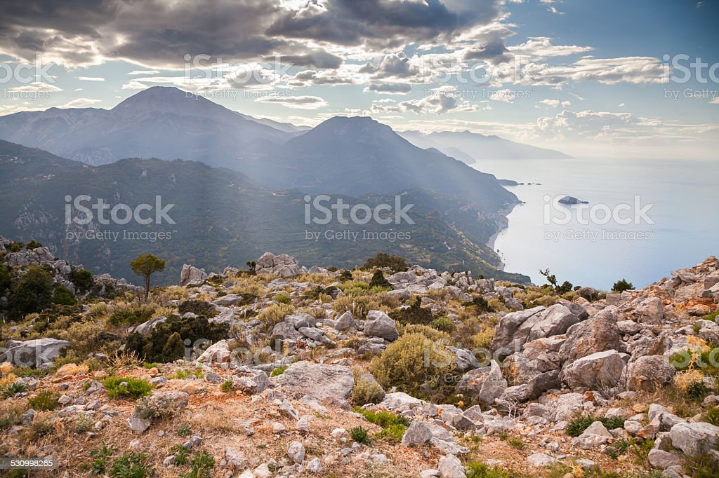 Mediterranean mountain landscape stock photo
