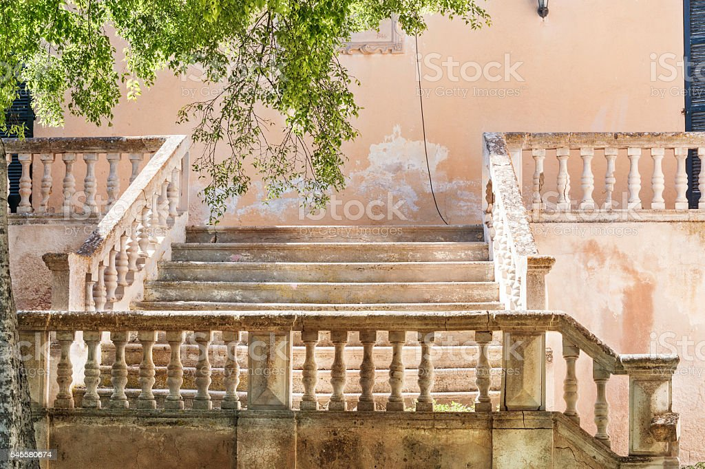 Mediterranean old stone stairs stock photo