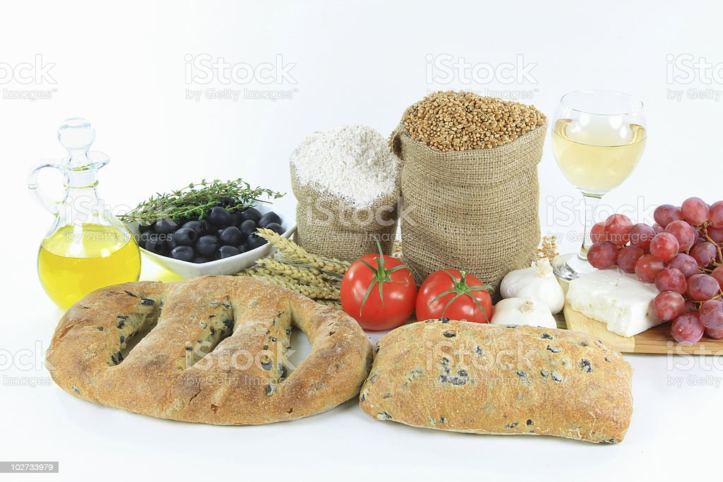 Mediterranean olive breads and food raw products. royalty-free stock photo