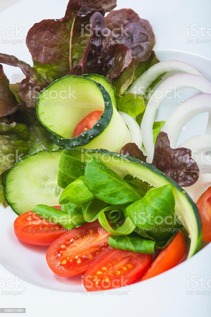 Mediterranean salad in a restaurant stock photo