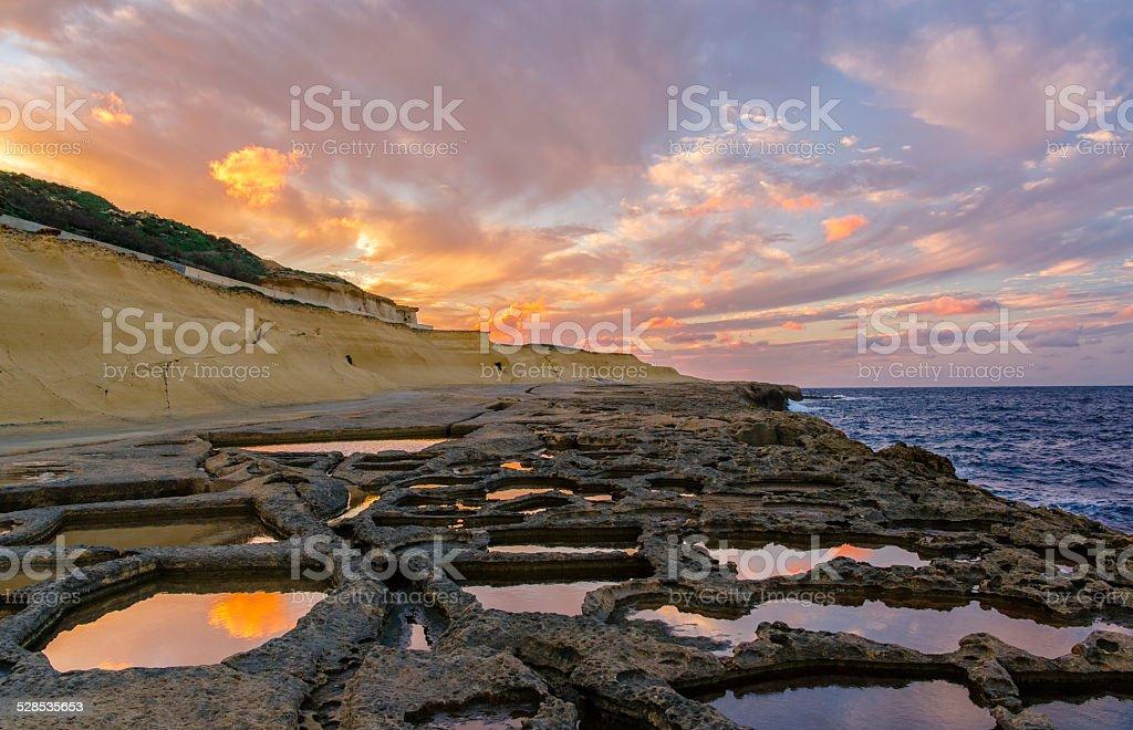 Mediterranean Salt Pans Sunset stock photo