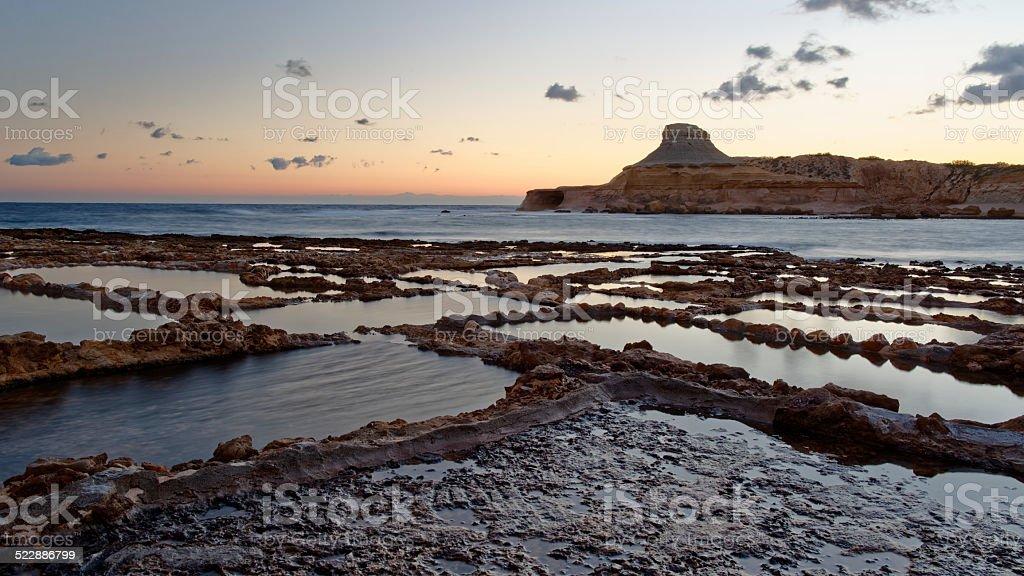 Mediterranean Saltpans Sunrise stock photo