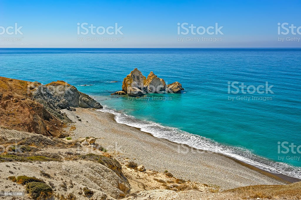 Mediterranean Sea coast of Cyprus stock photo