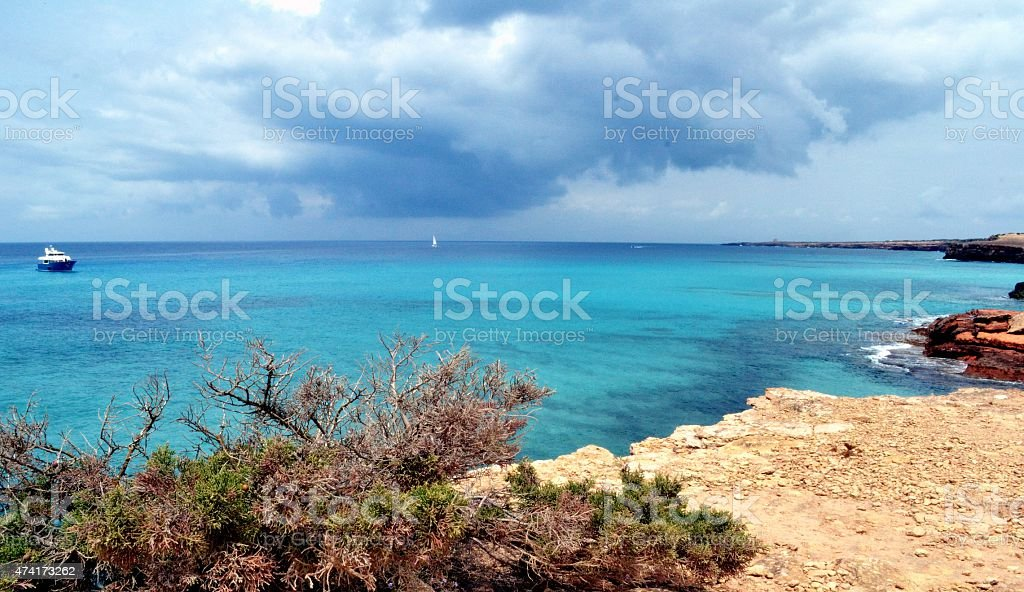 Mediterranean sea. Formentera island stock photo