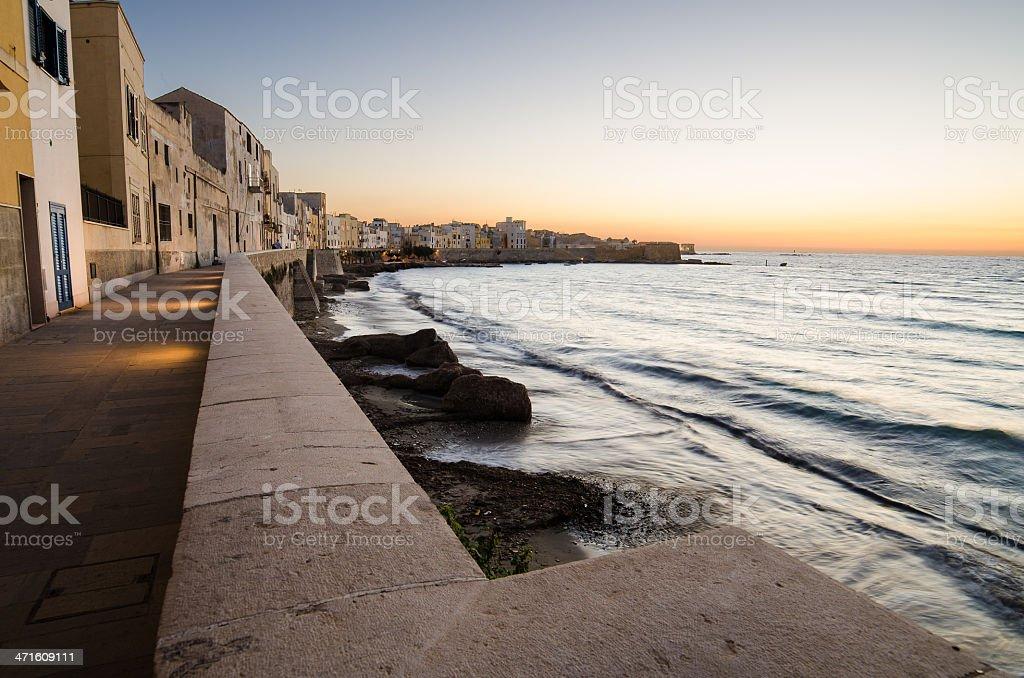 Mediterranean sea in the Trapani, Sicily stock photo