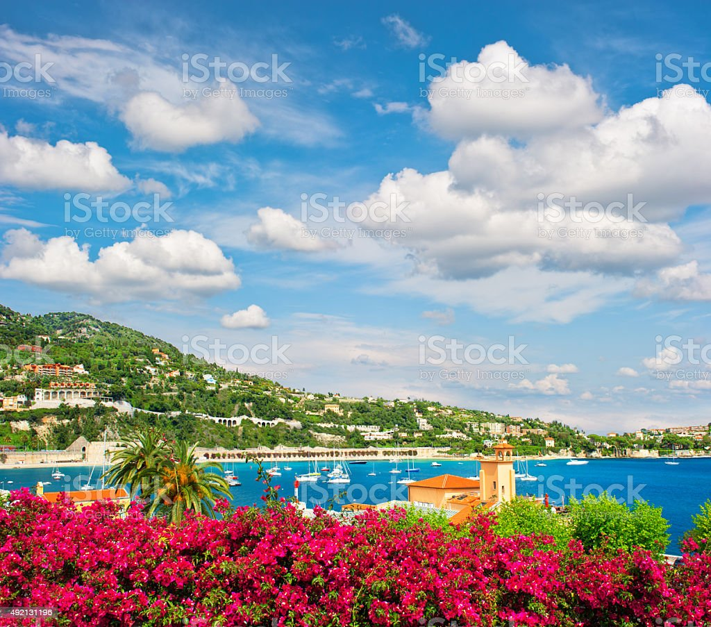Mediterranean sea landscape with cloudy blue sky. French riviera stock photo
