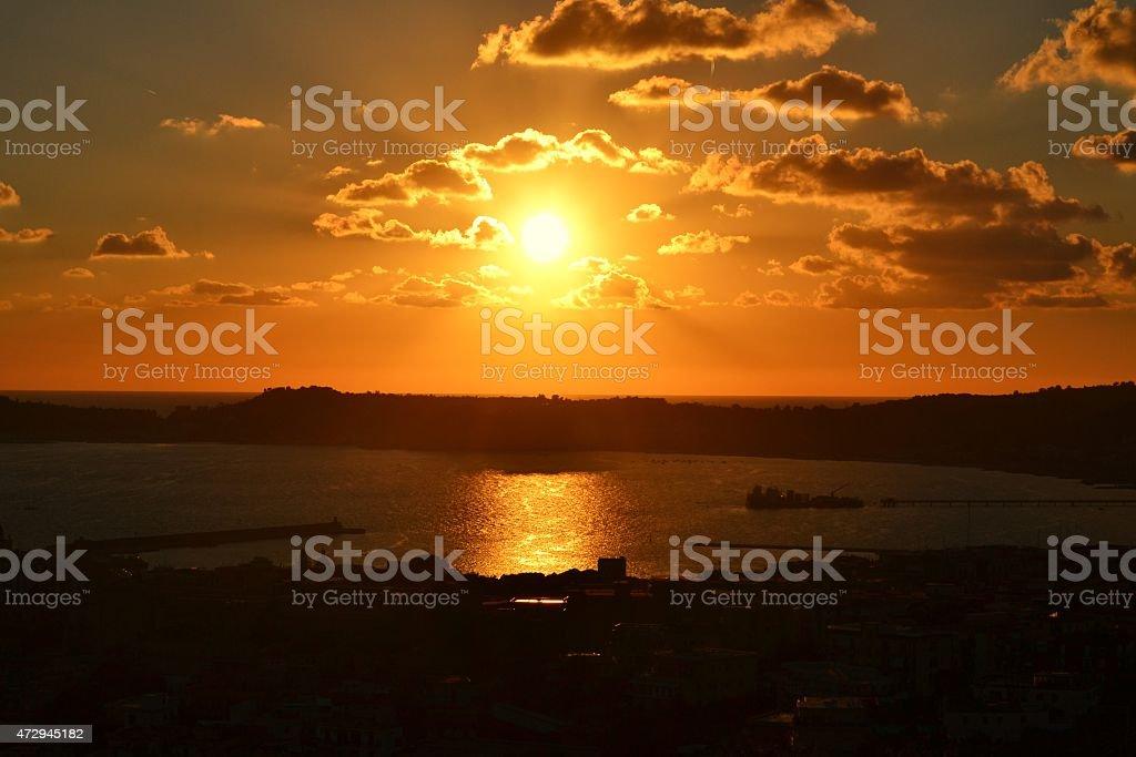 Mediterranean sea. Naples' bay. Campi Flegrei's view stock photo