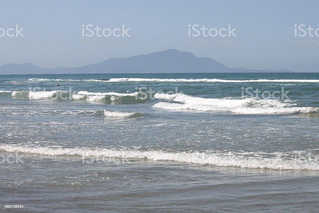 Mediterranean Sea with blue summer wave background stock photo