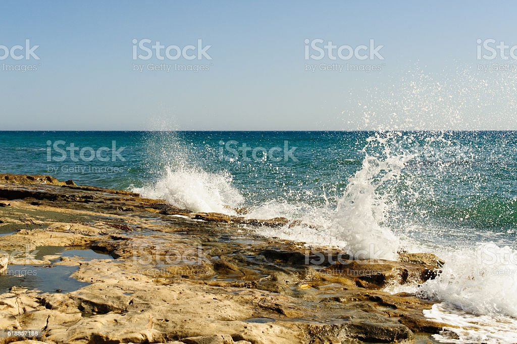 Mediterranean seaside near Limassol, Amathus area stock photo