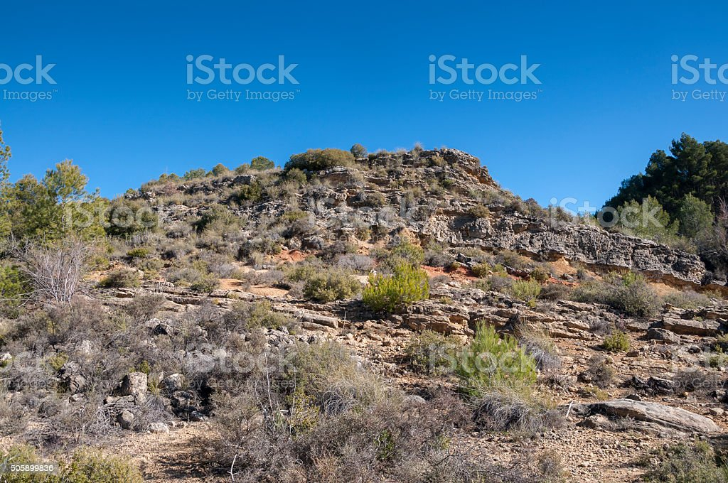 Mediterranean shrublands over limestones stock photo