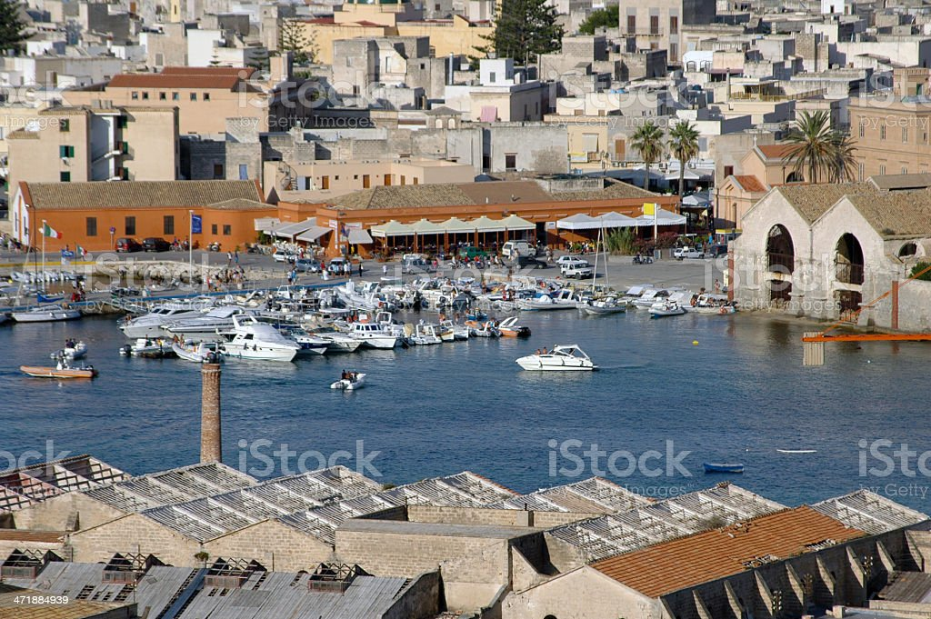 mediterranean small harbor stock photo