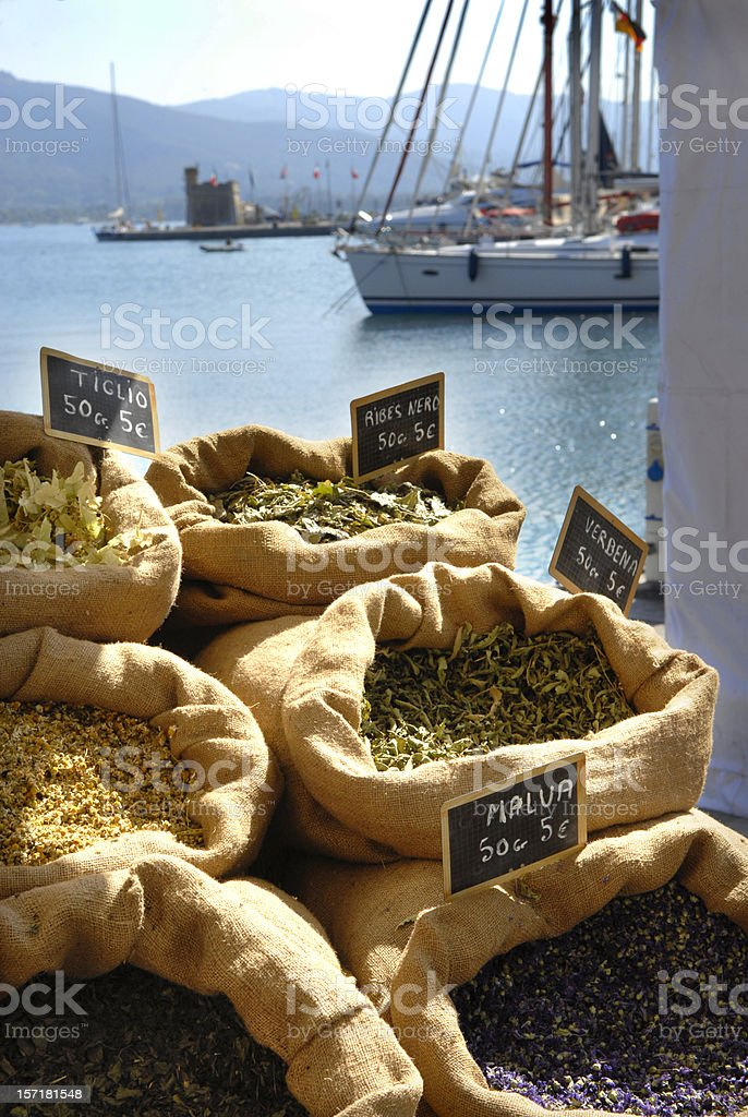 Mediterranean spice market stock photo