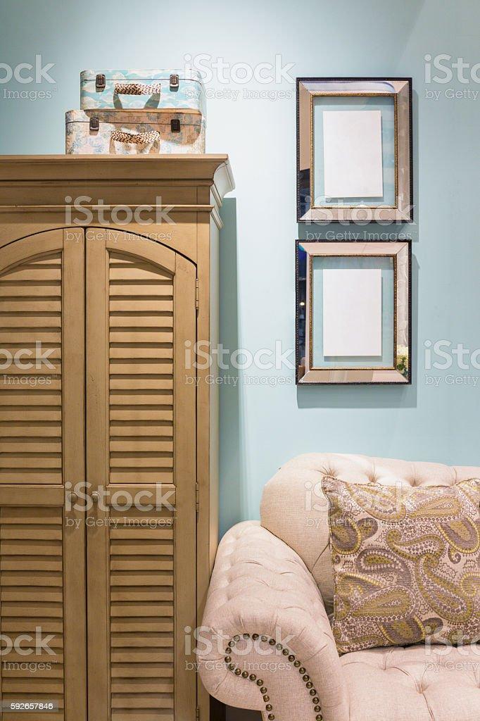 Mediterranean style living room stock photo