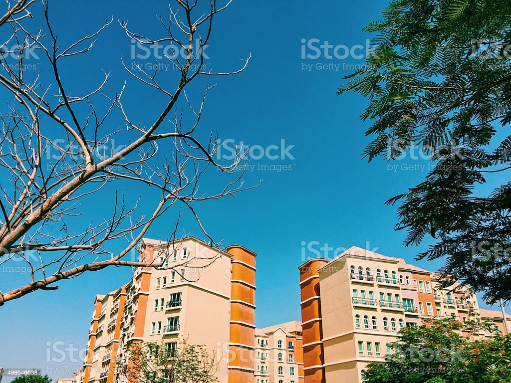 Mediterranean Styled Modern Buildings from Dubai, UAE stock photo