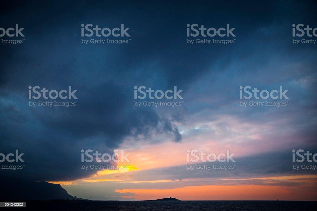 Mediterranean sunset, Sicily. stock photo