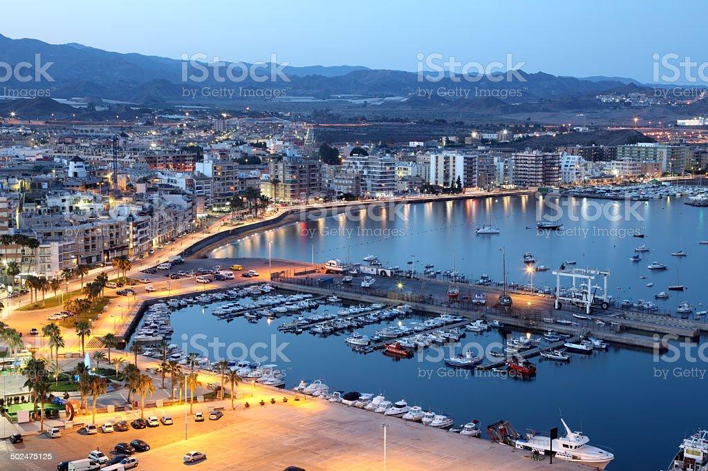 Mediterranean town Aguilas at night, Spain stock photo