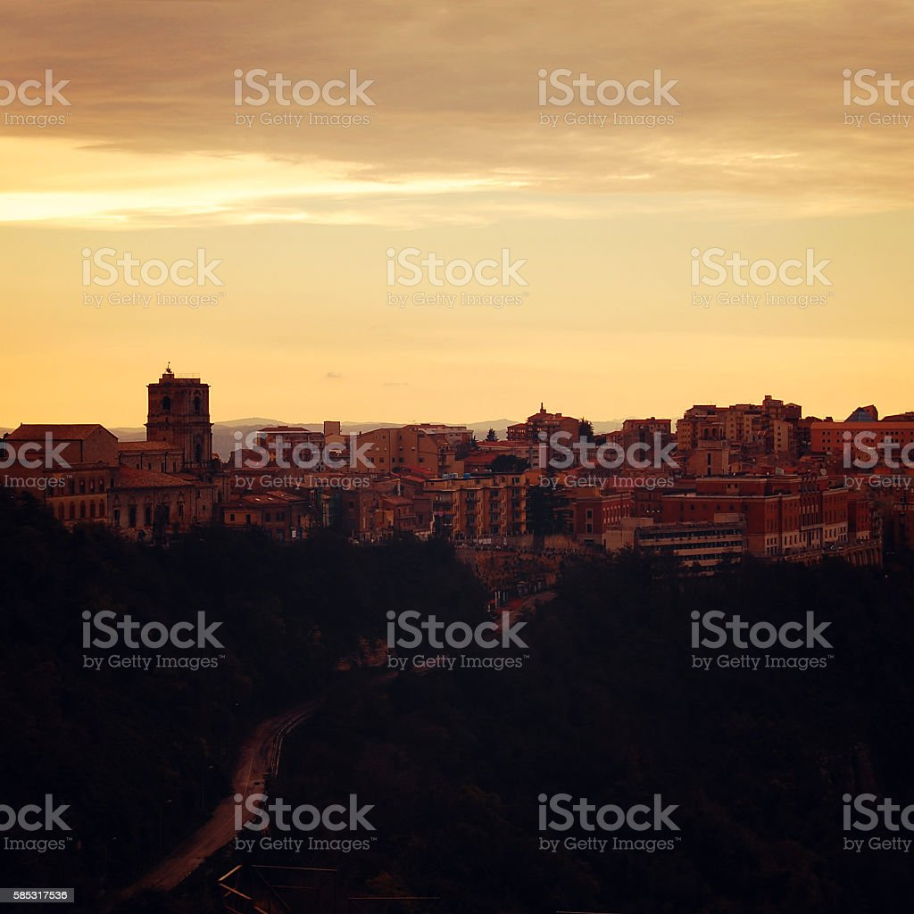 Mediterranean town. Early morning in Enna. stock photo