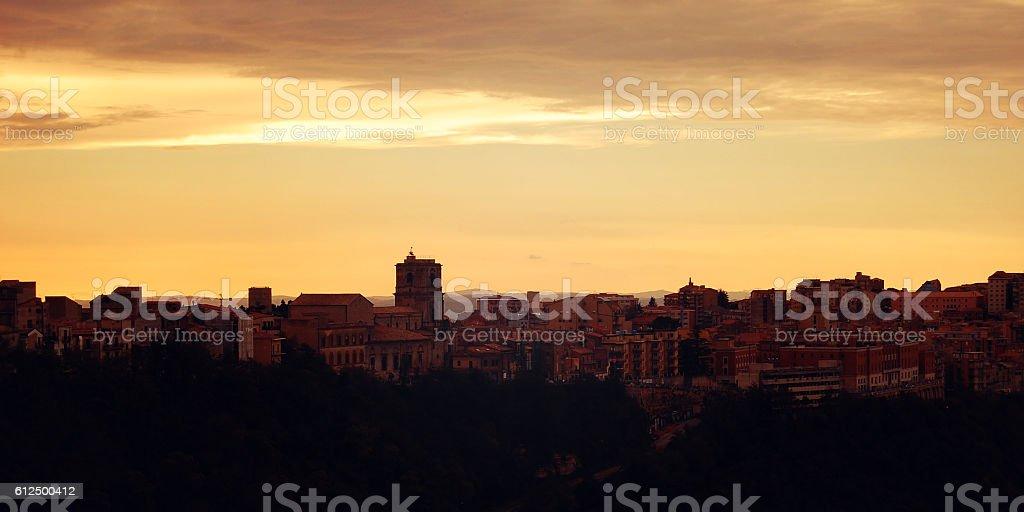 Mediterranean town. Late evening in Enna. stock photo
