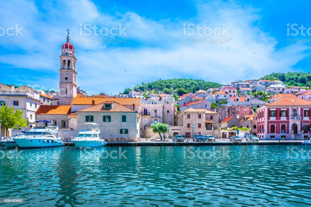 Mediterranean town Pucisca Brac. stock photo