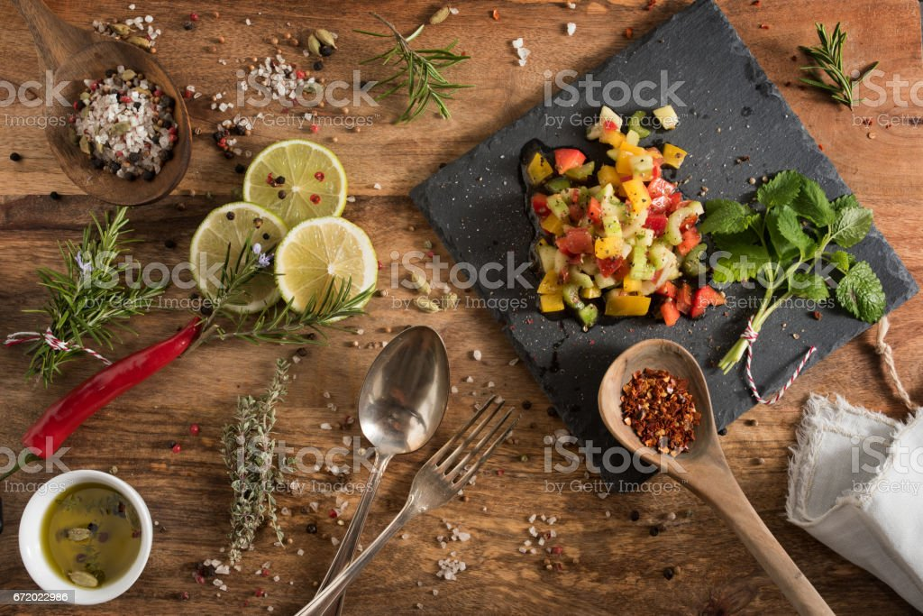 Mediterranean vegetables gazpacho stock photo