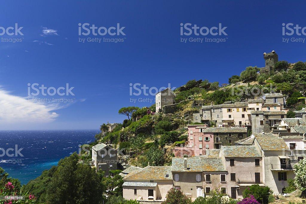 mediterranean village, nonza, corsica royalty-free stock photo