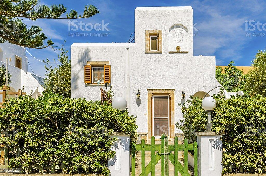 mediterranean white house, garden royalty-free stock photo