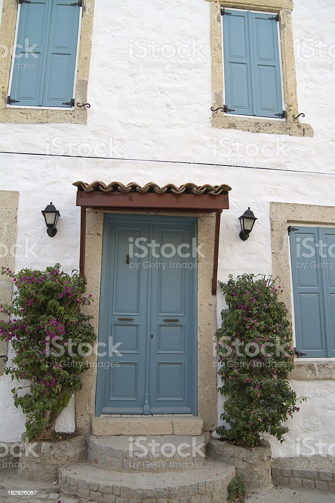 Mediterranian house enterance stock photo