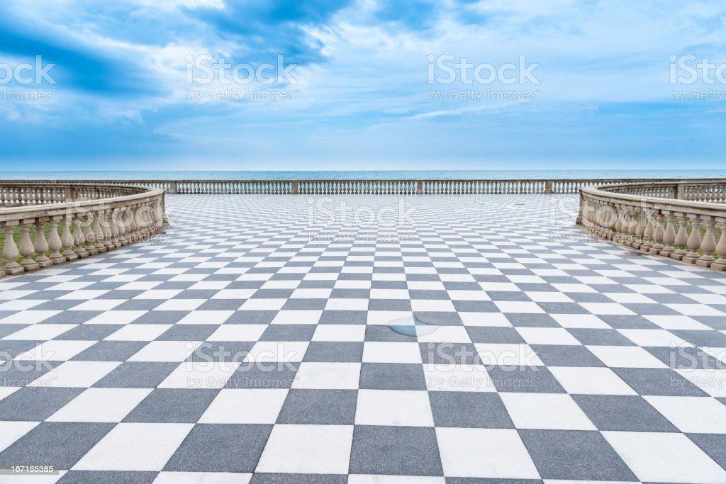 Mediterranian sea promenade stock photo