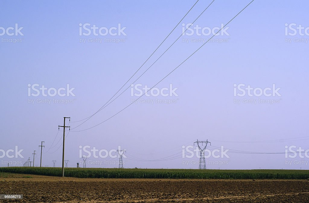 medium and high voltage power lines royalty-free stock photo